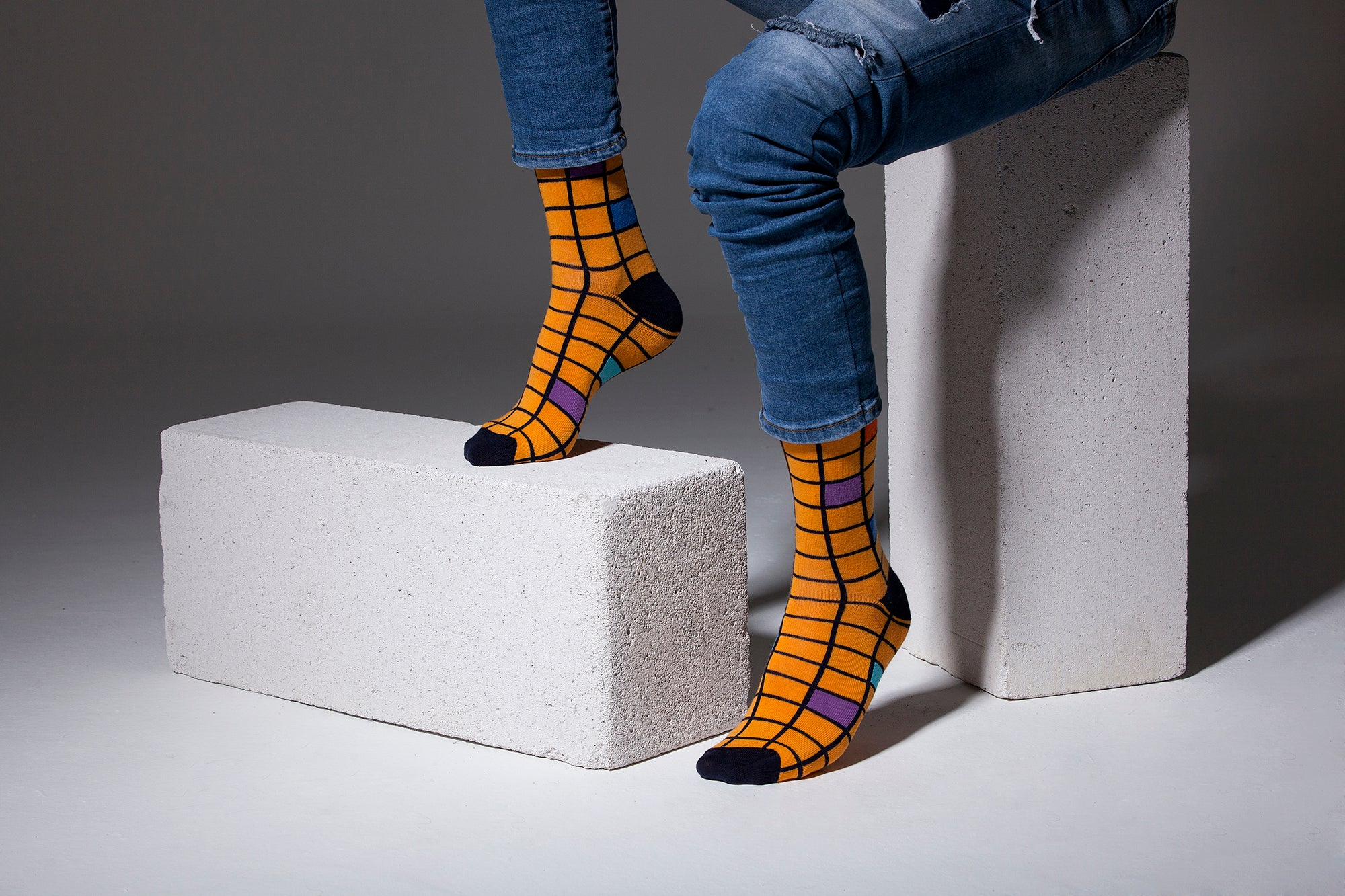 Men's Tangerine Square Socks