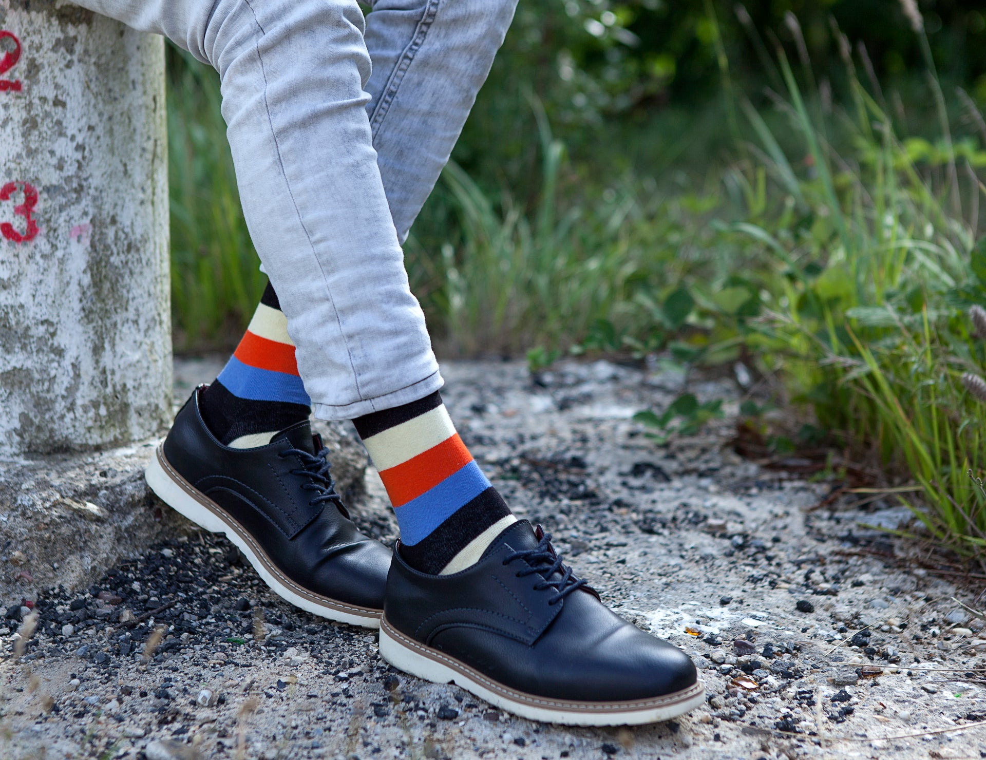 Men's Orange Sky Stripe Socks