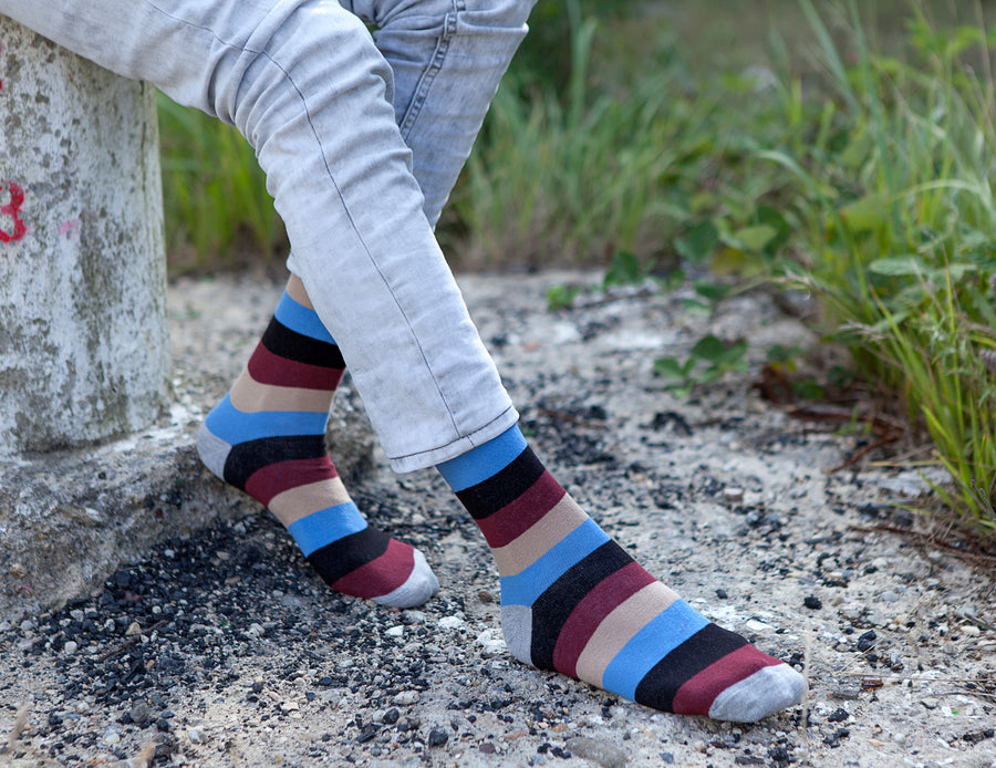 Men's Beige Stone Stripe Socks