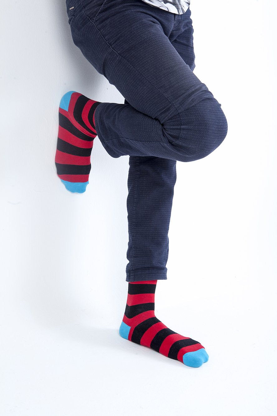 Stripe 1195  Single Pair Men's Crew Dress Socks