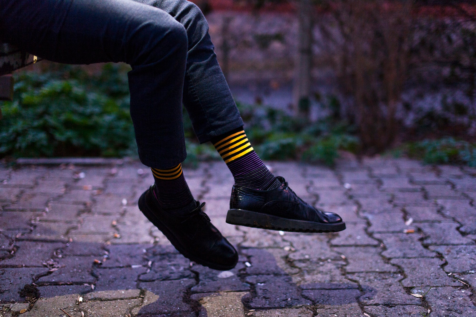 Men's Black Thin Stripe Socks