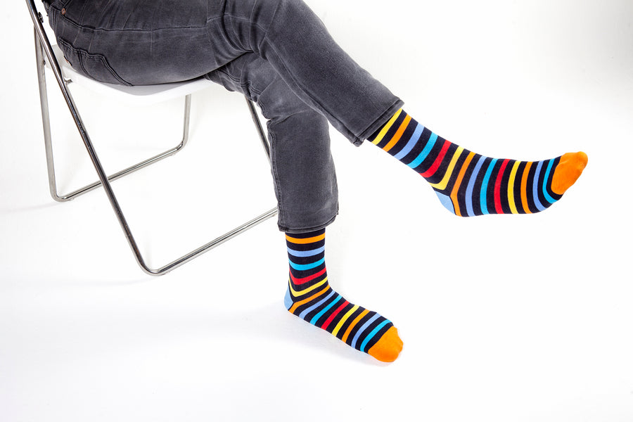 Men's Black Rainbow Stripe Socks
