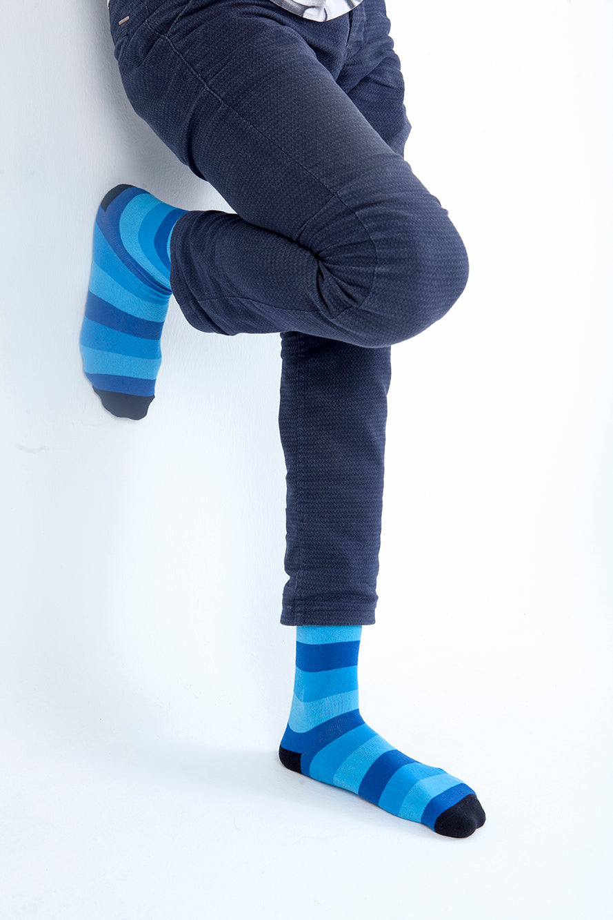 Men's Faded Blue Stripe Socks