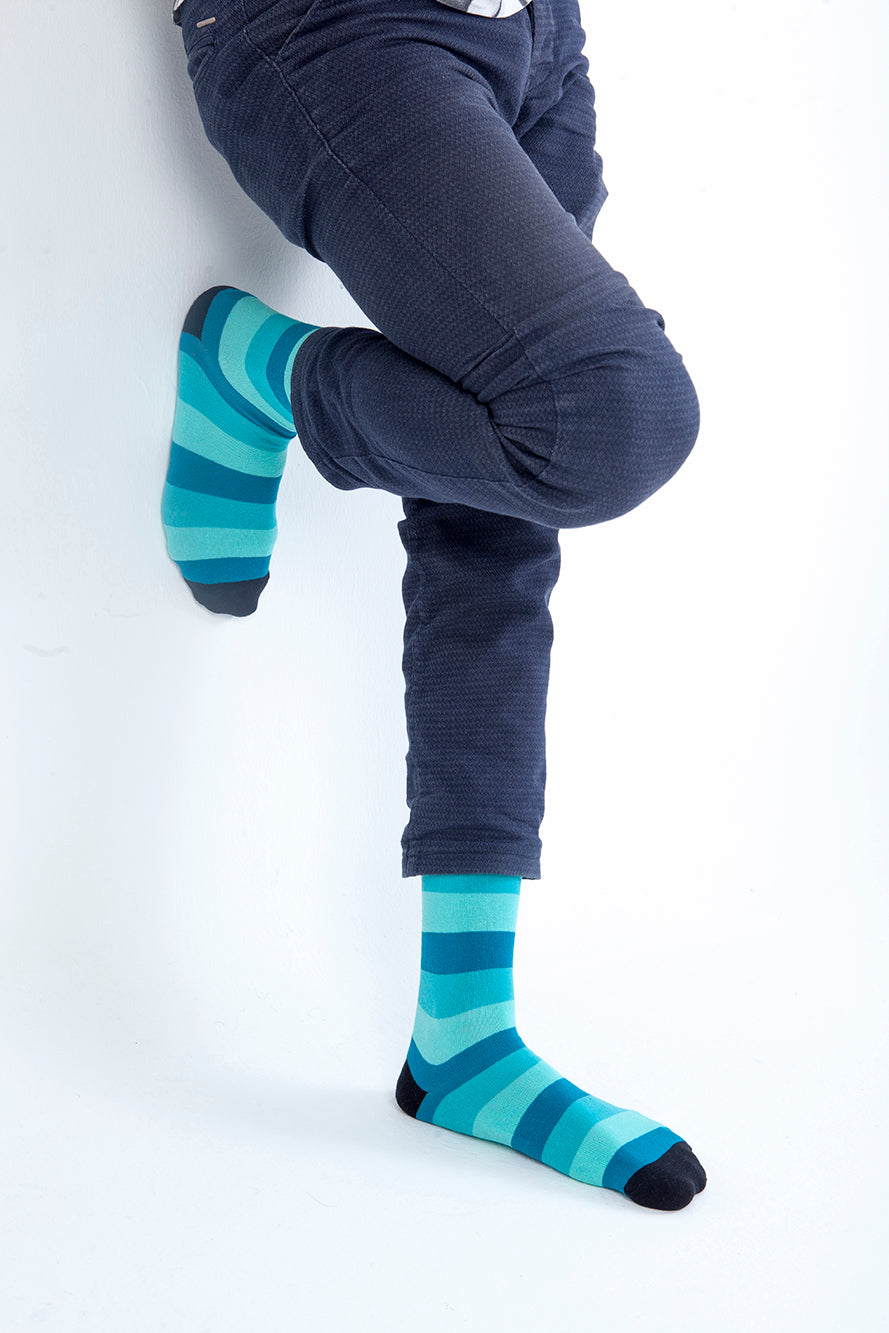 Men's Faded Teal Stripe Socks