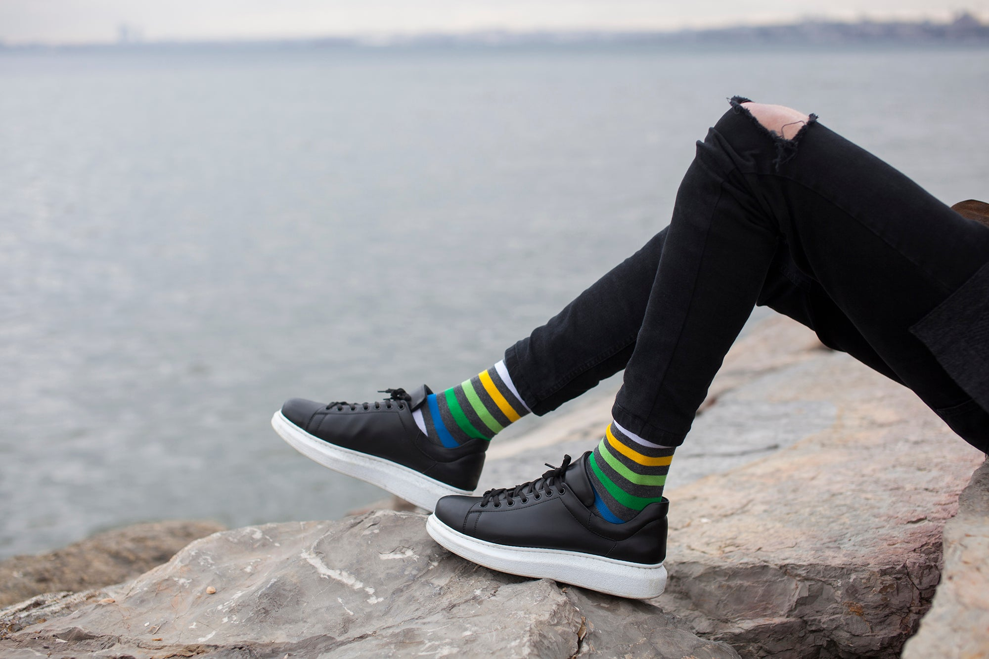 Men's Grey Emerald Stripe Socks