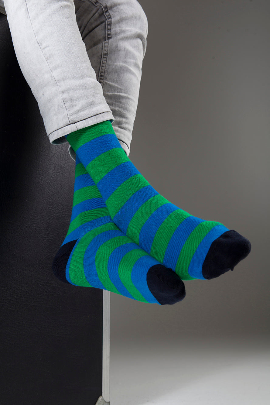 Stripe 1233  Single Pair Men's Crew Dress Socks