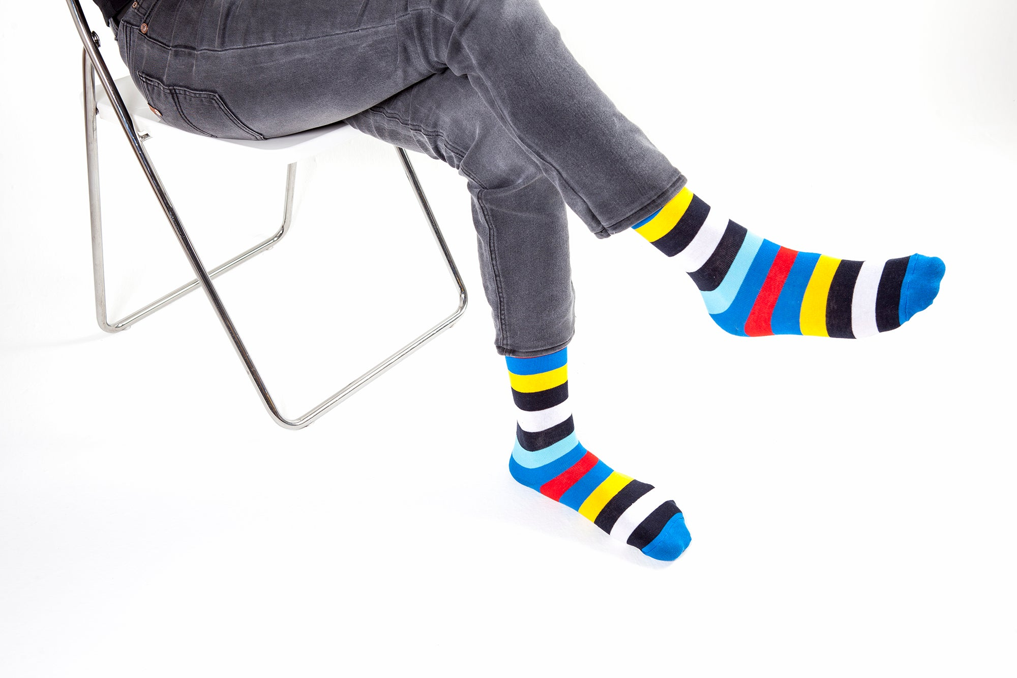 Blue Rainbow Stripe Socks