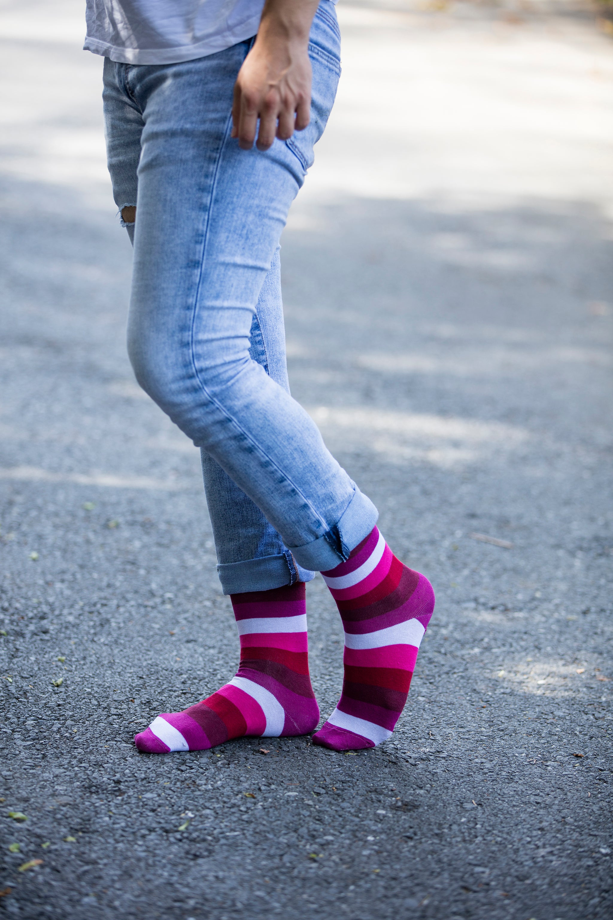 Men's Heaven Pink Stripe Socks