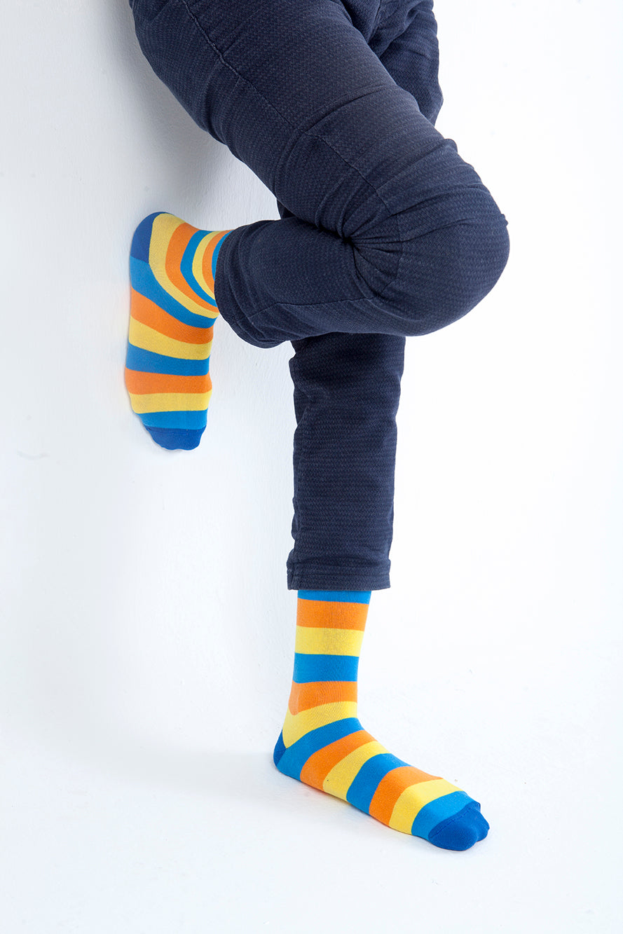 Men's Golden Bird Stripe Socks