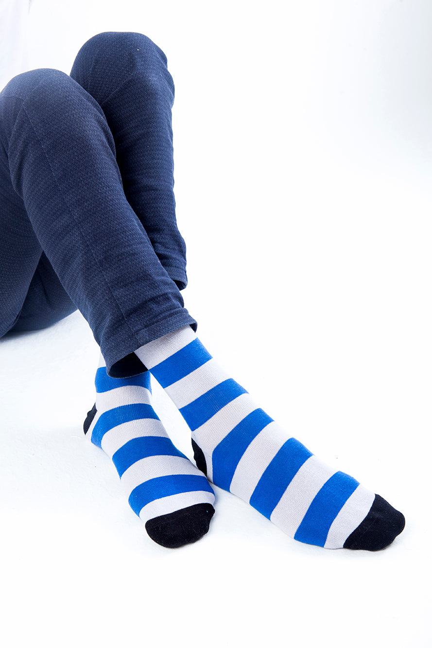 Navy Ash Stripe Socks