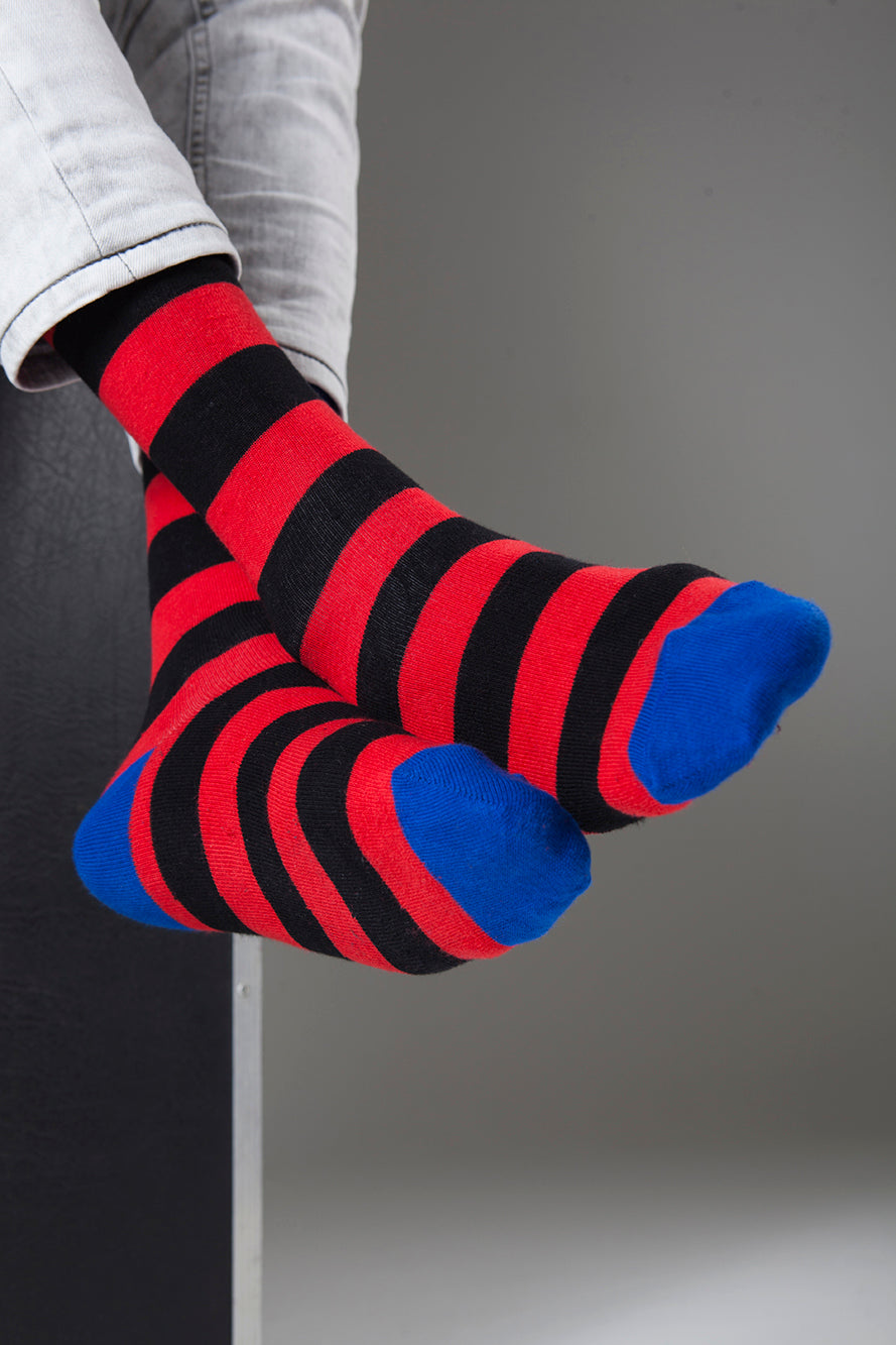 Men's Navy Flash Stripe Socks