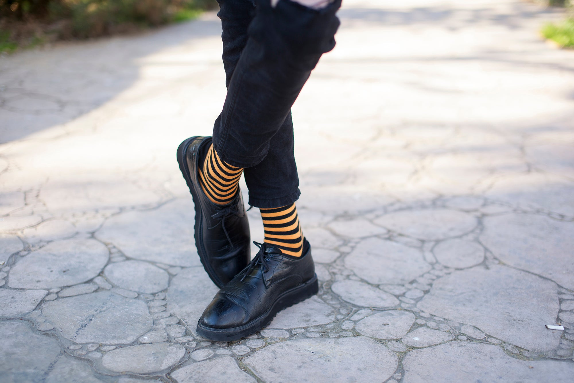 Men's Solid Tangerine Stripe Socks