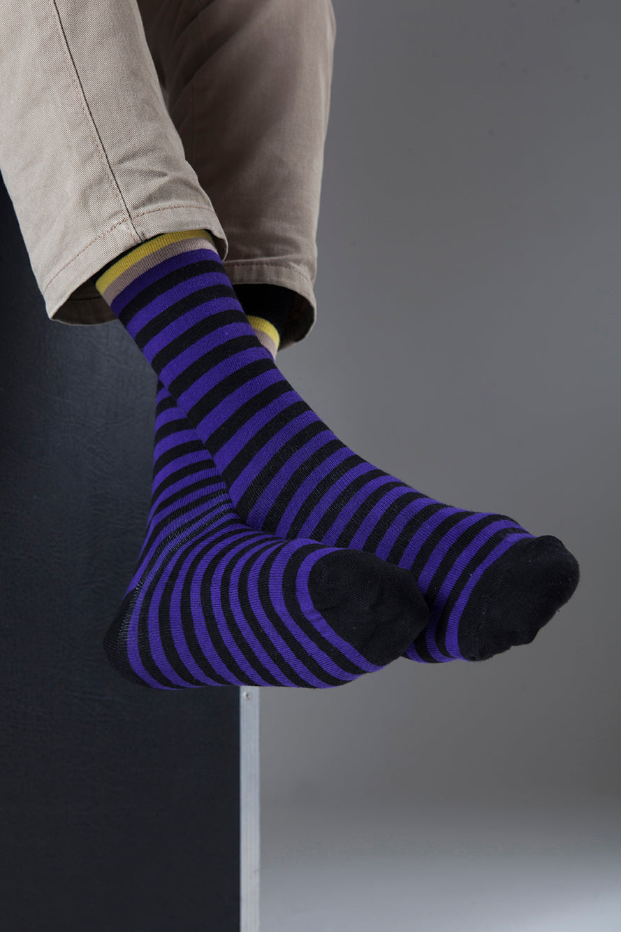 Stripe 1252  Single Pair Men's Crew Dress Socks