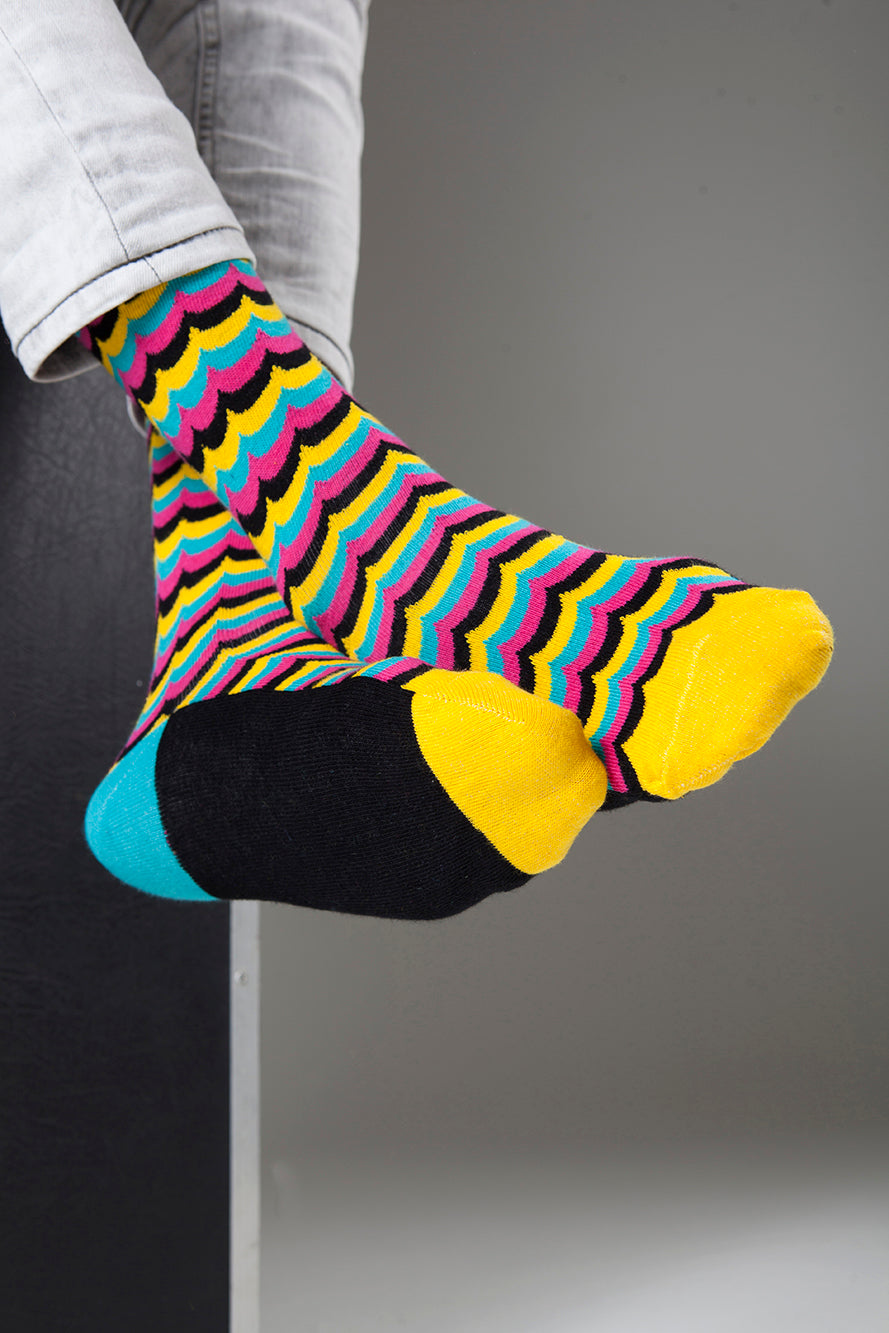 Yellow Candy Wave Socks