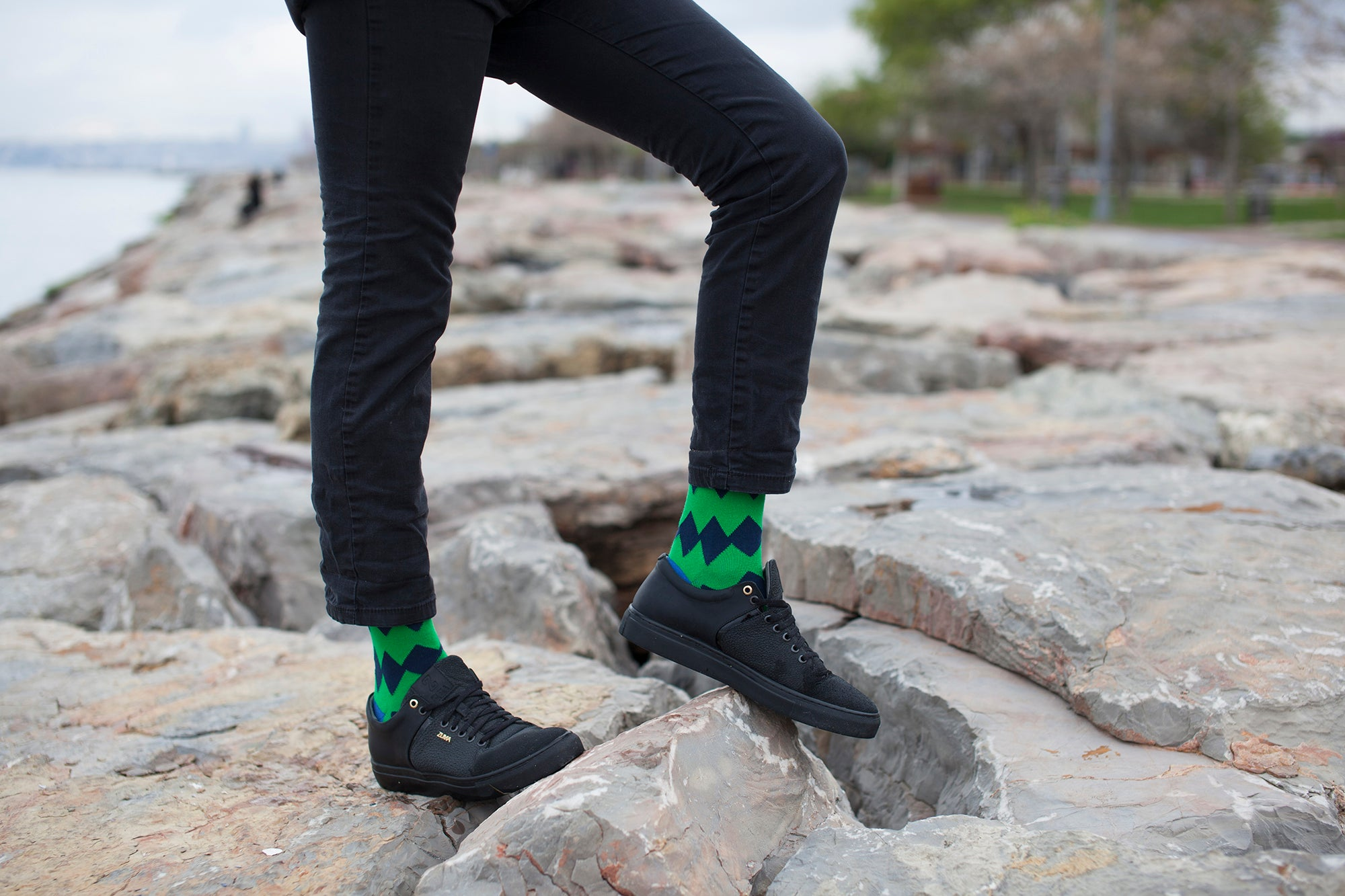 Men's Emerald Zig Zag Socks