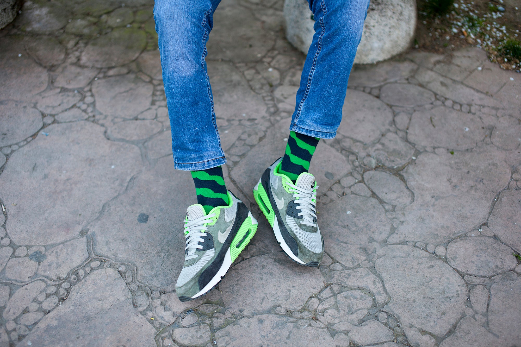 Men's Lime Mix Set Socks