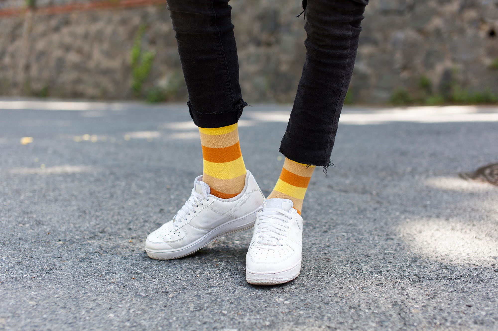 Faded Canary Stripe Socks