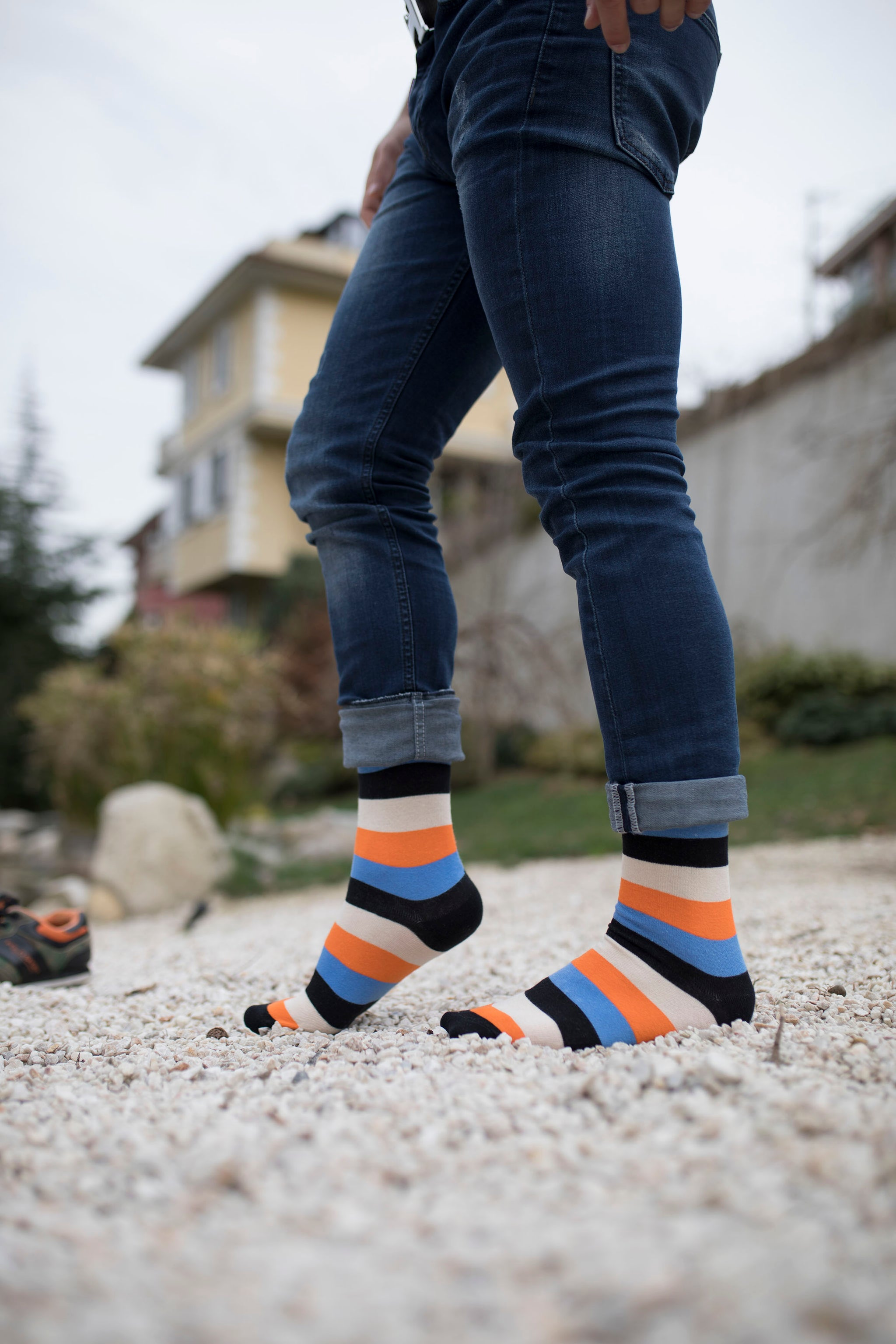 Men's Pumpkin Stripe Socks