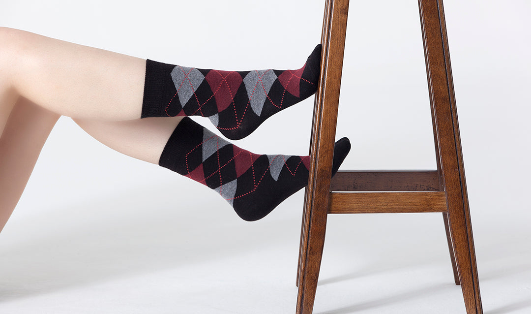 Shiny Black Argyle Socks