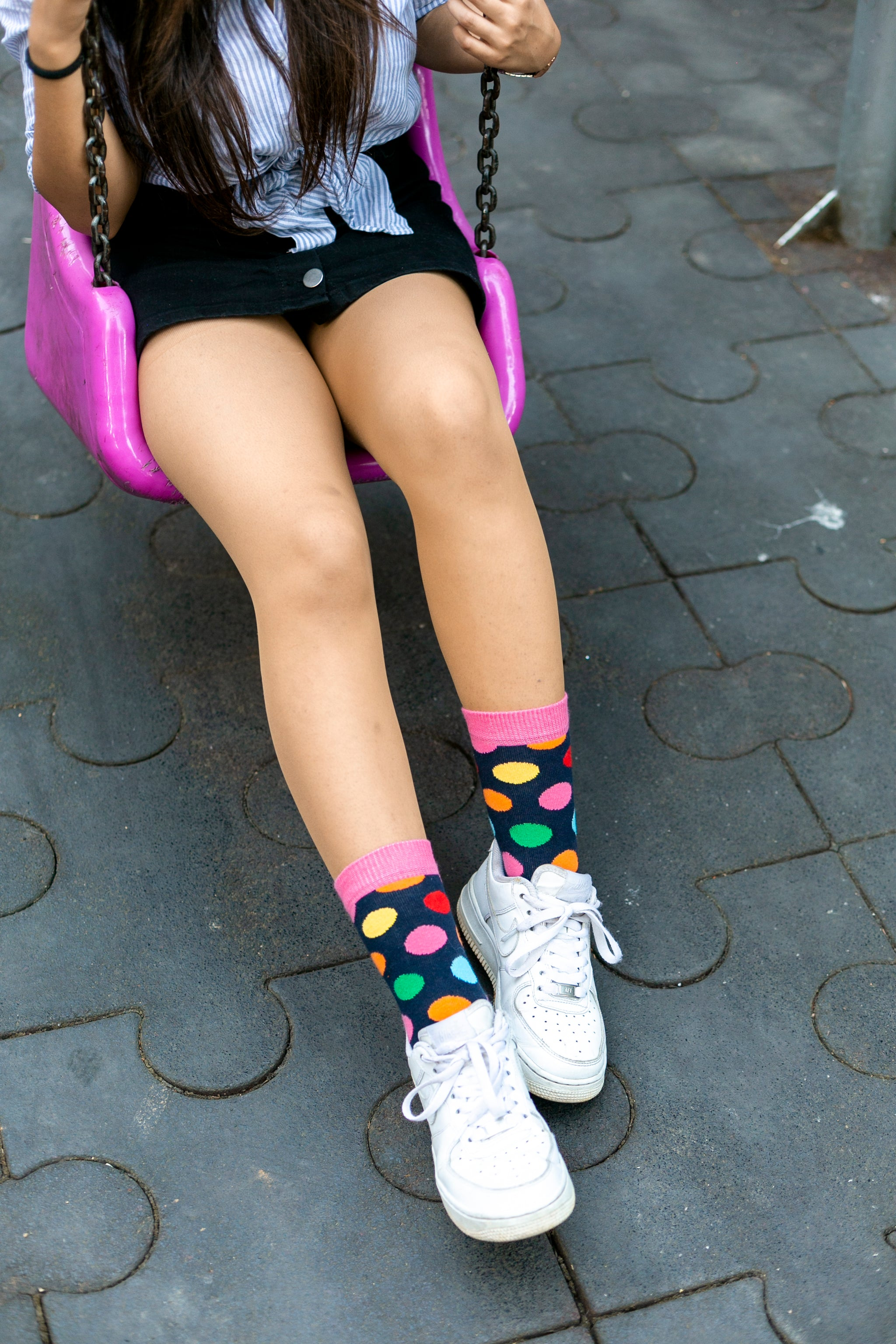 Women's Pink Sky Dot Socks