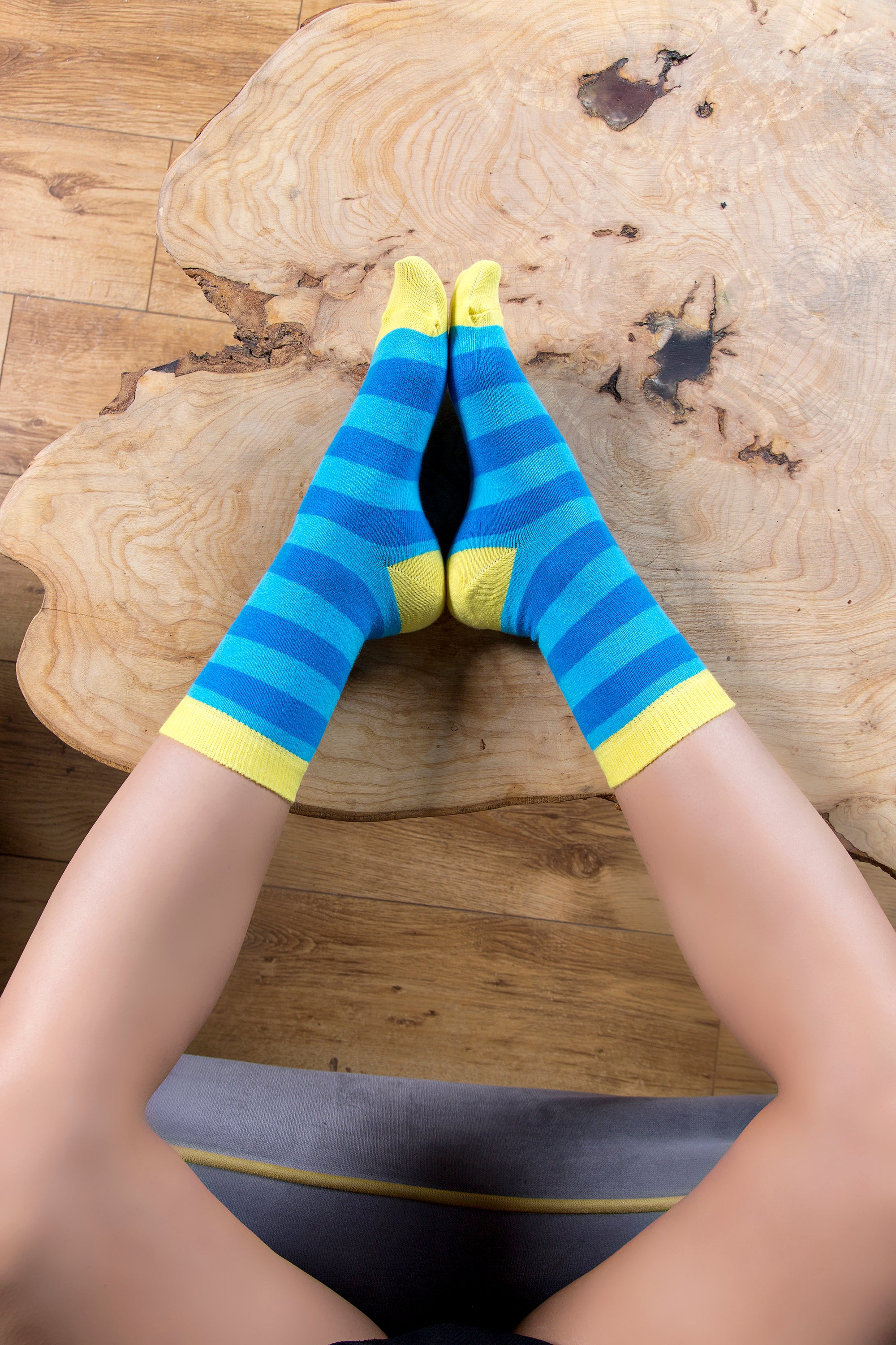Women's Yellow Sky Stripe Socks