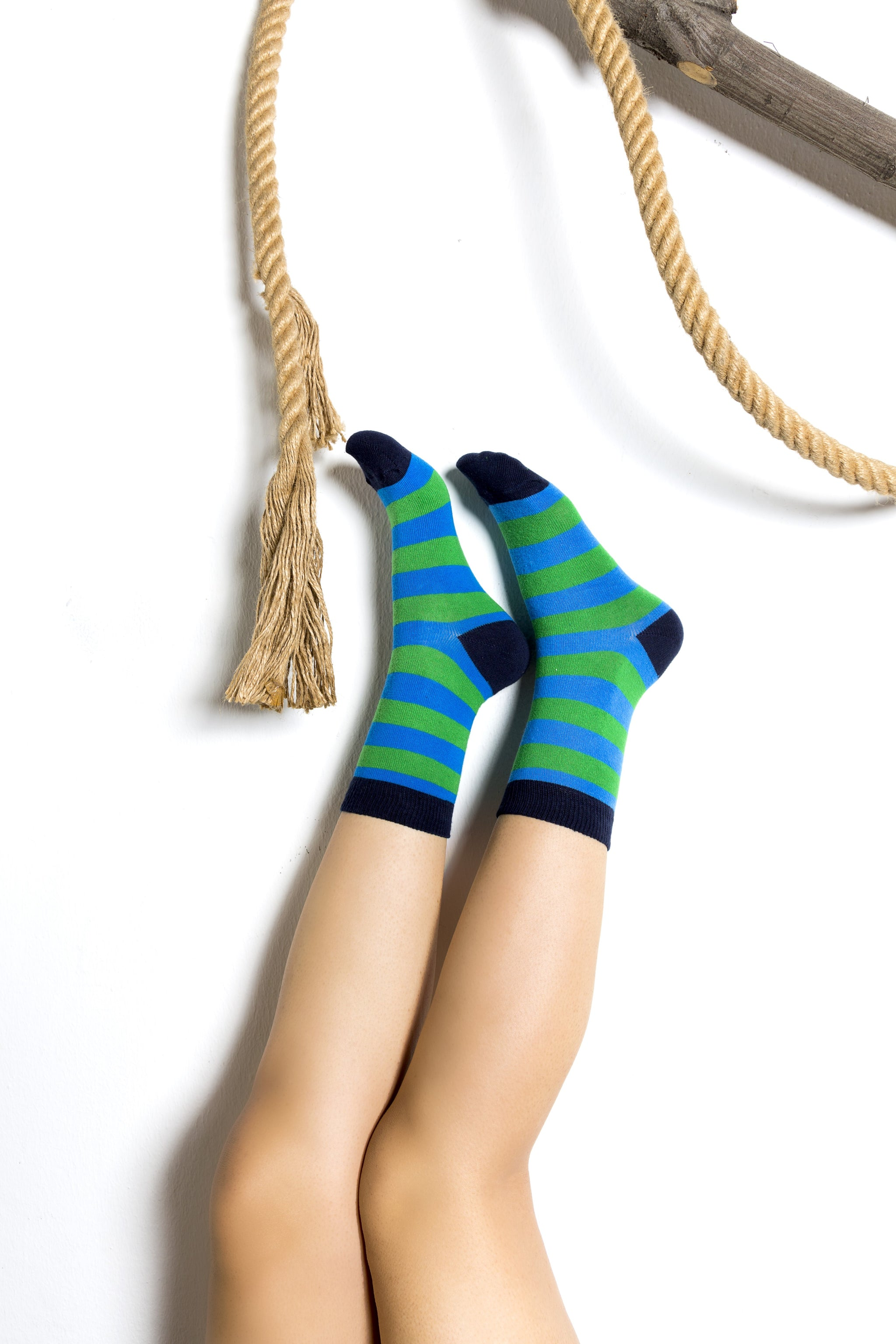 Women's Blue Grass Stripe Socks