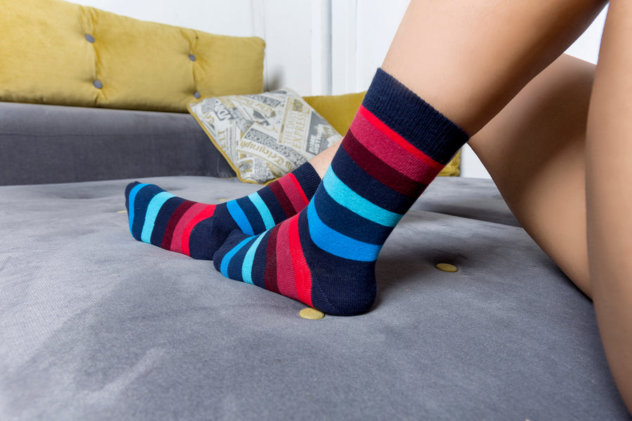 Women's Black Grape Stripe Socks