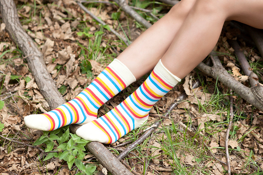 Women's Eggnog Stripe Socks