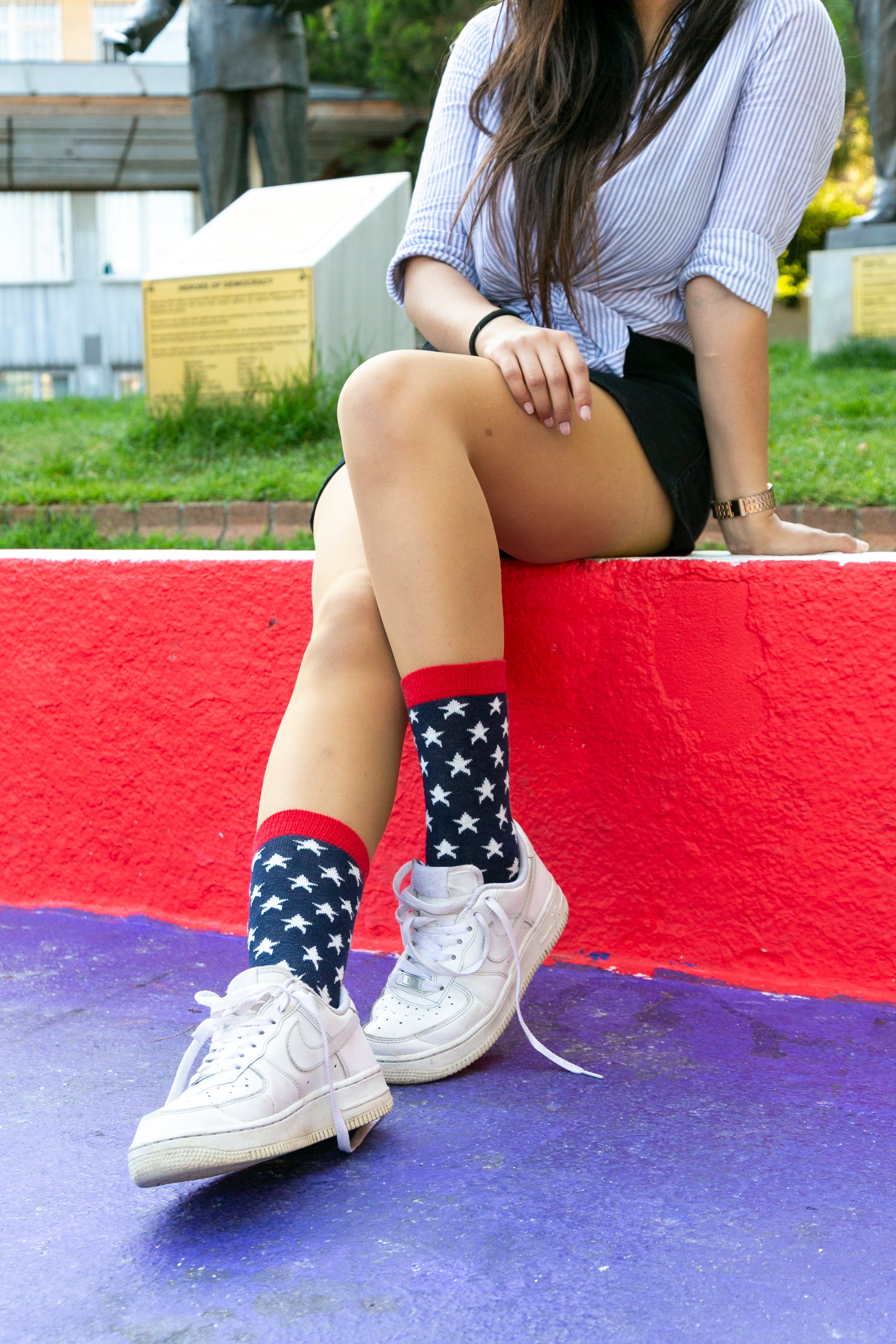 Women's Usa Patriotic Stars Socks