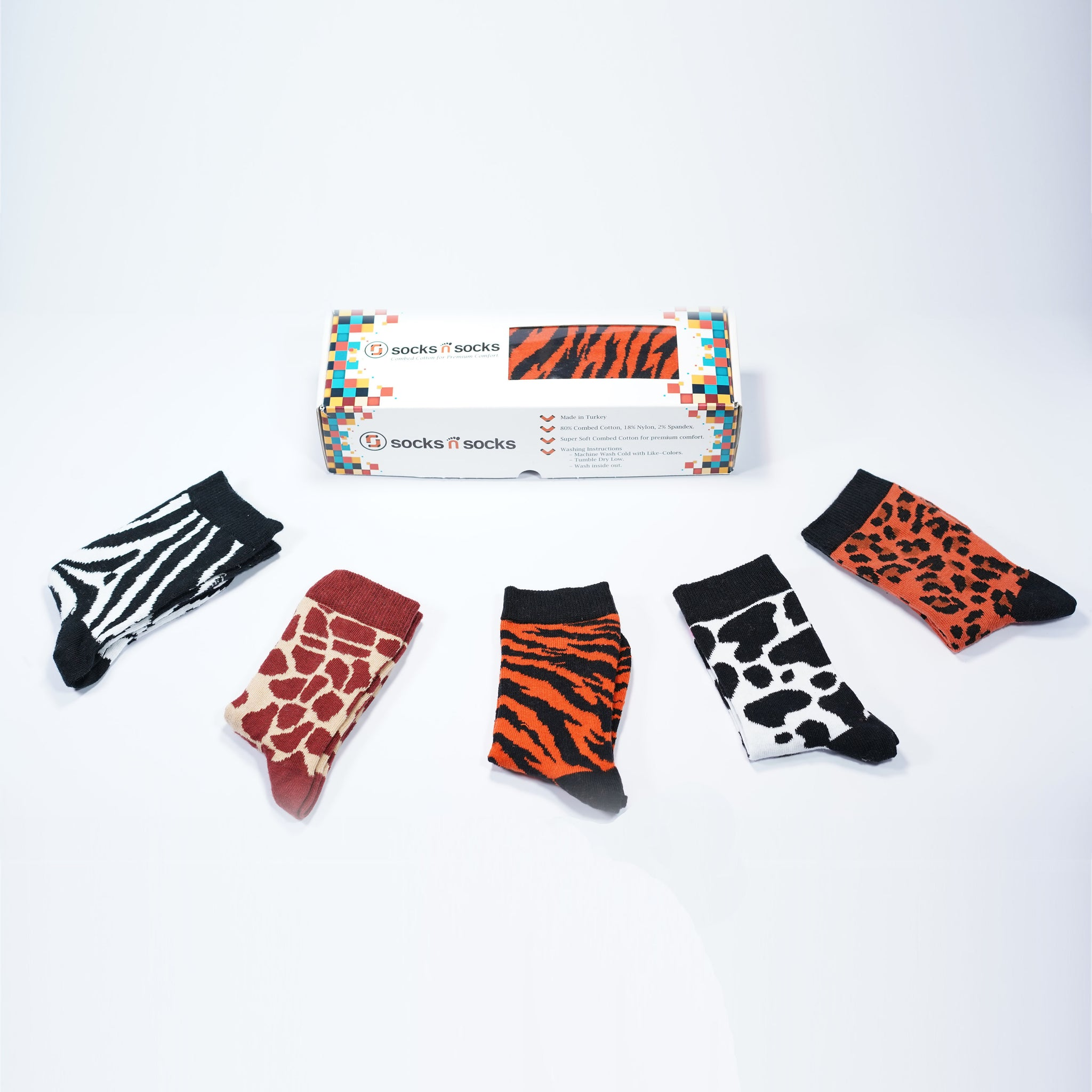 Kids Animal Pattern Socks 5-Pack