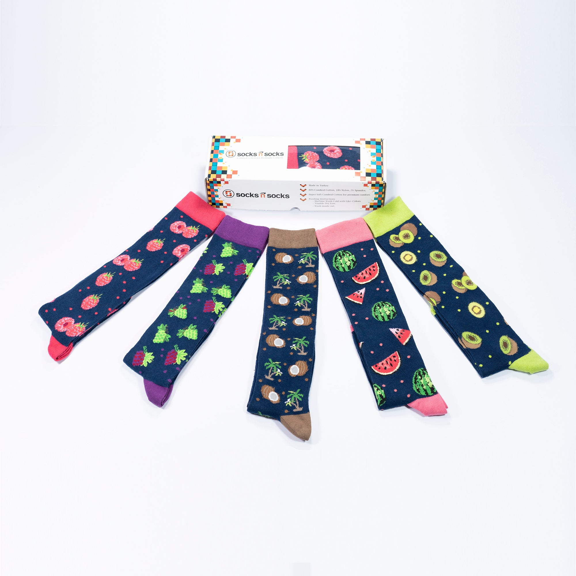 Women's Delightful Fruits Knee High Socks Set