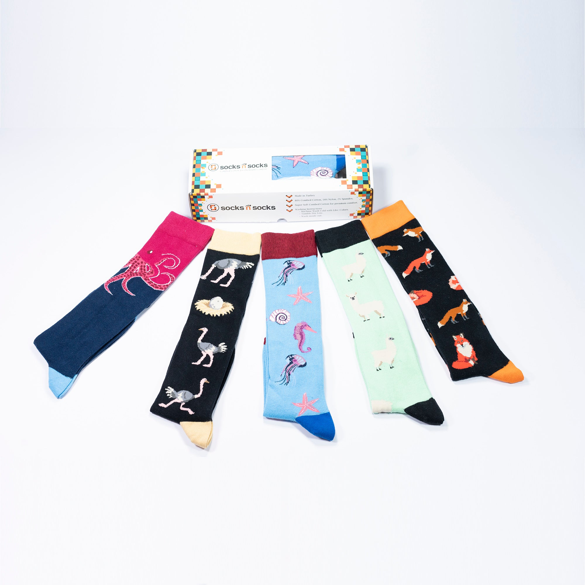 Women's Wild Animals Knee High Socks Set