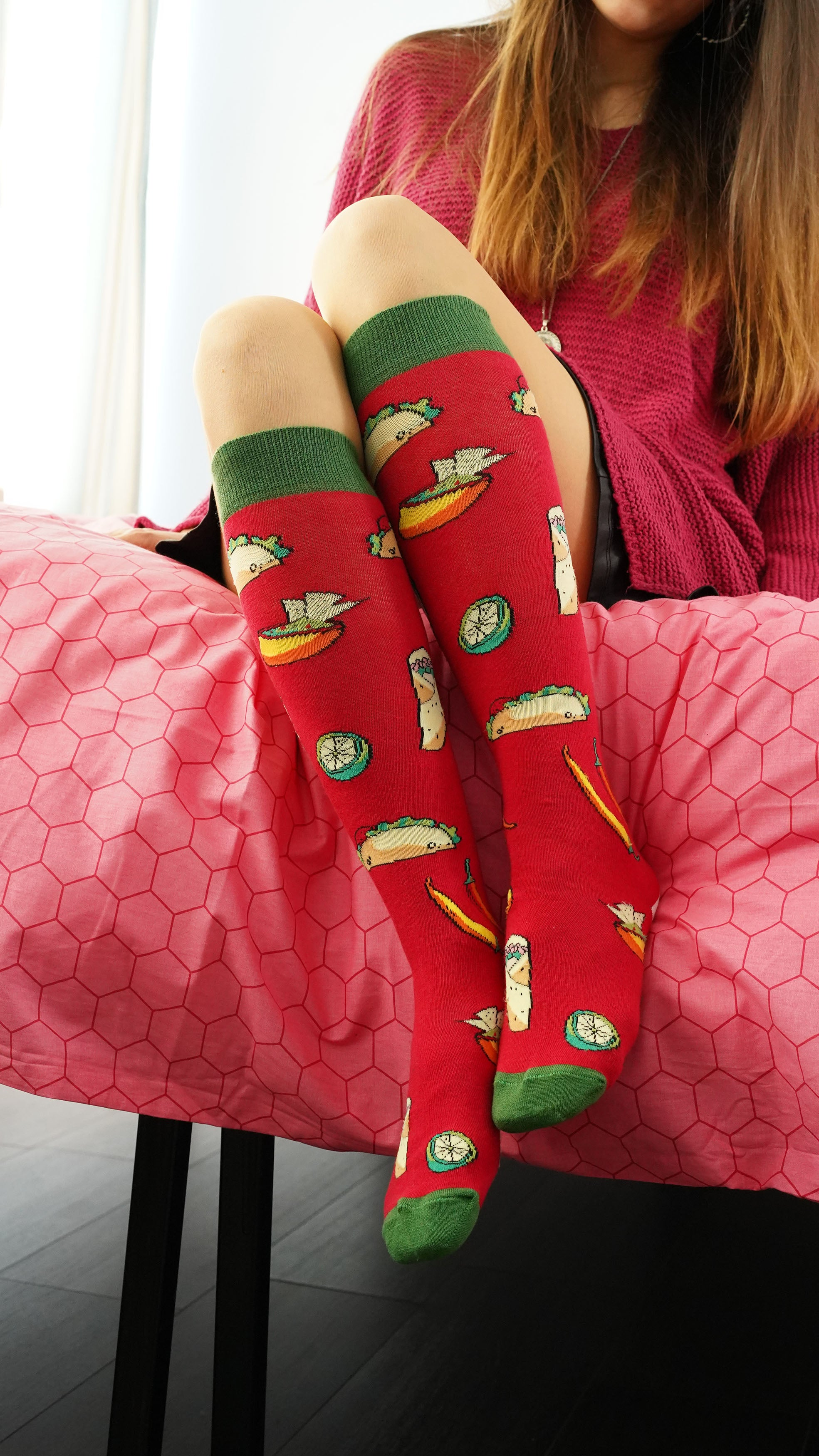 Women's Chili Tacos Knee High Socks