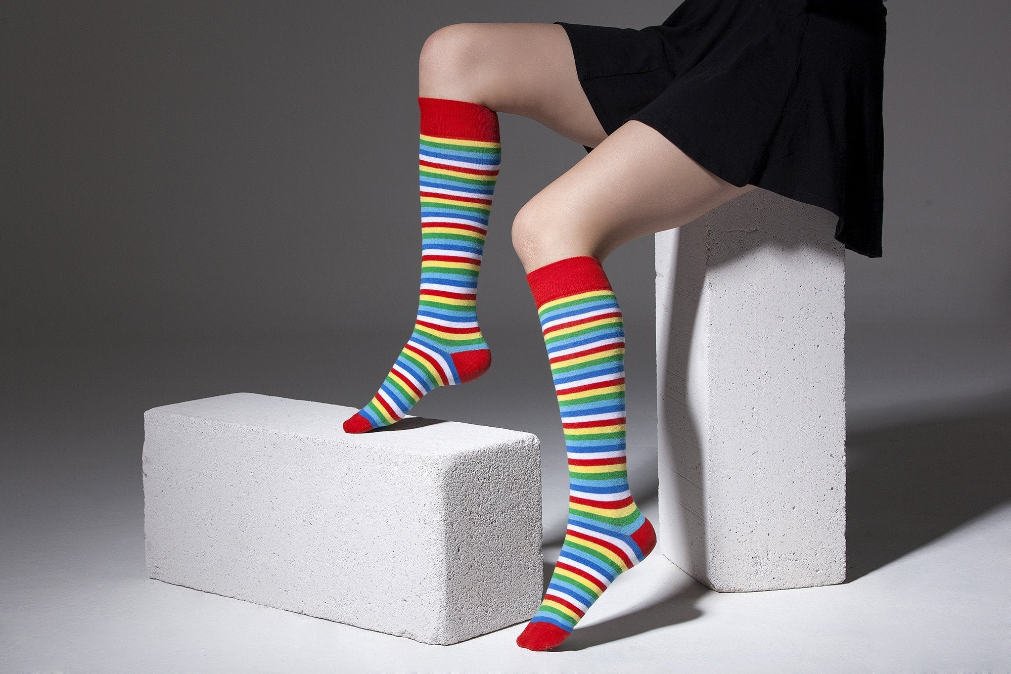 Women's Colorful Stripe Knee High Socks Set