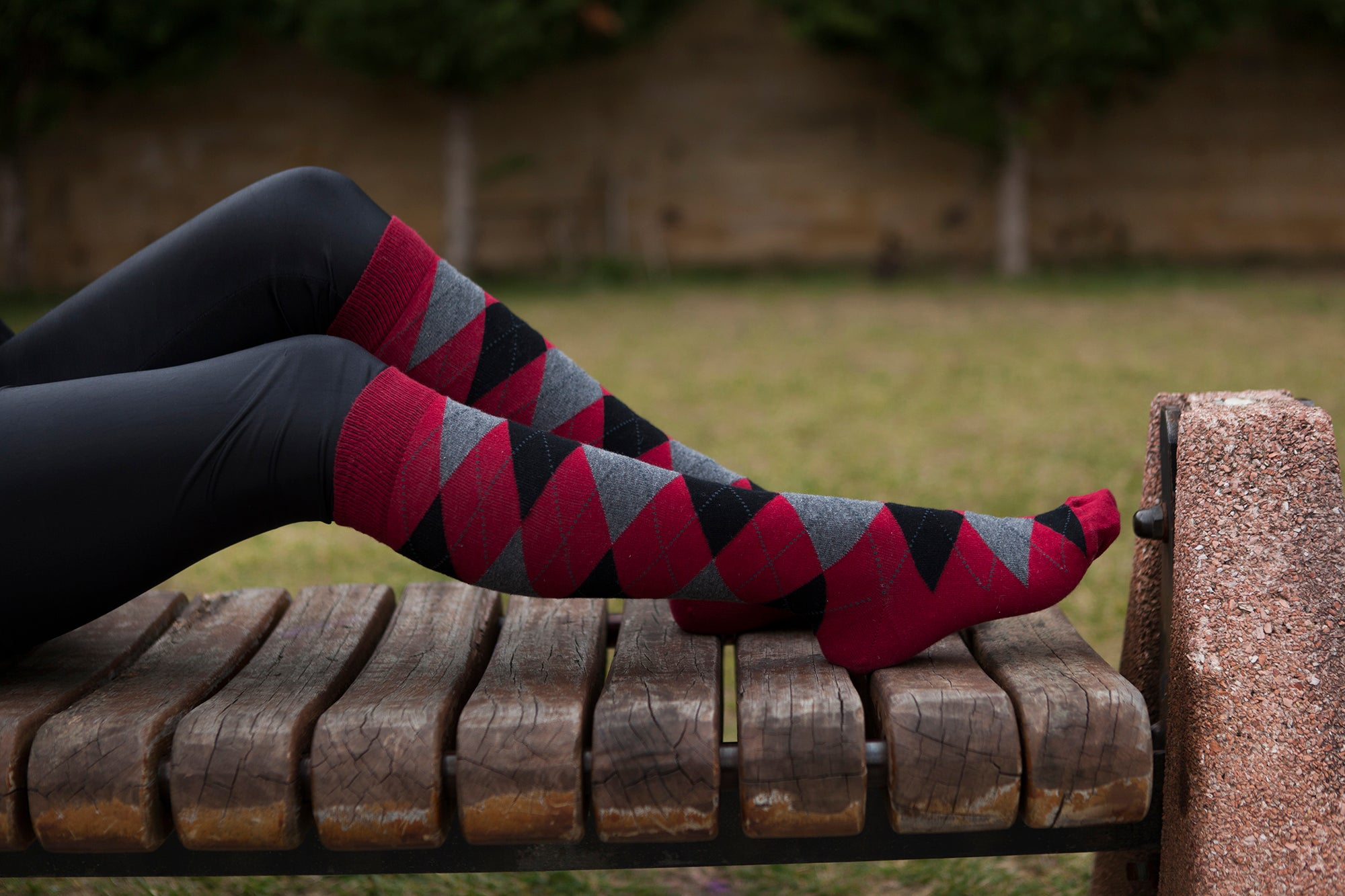 Women's Wine Argyle Knee High Socks