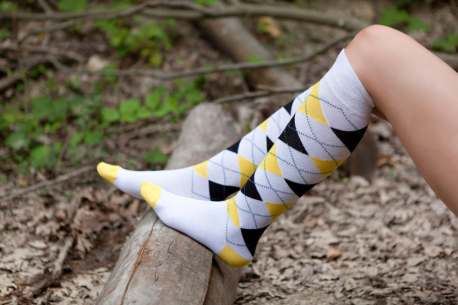 Women's White Lemon Knee High Socks