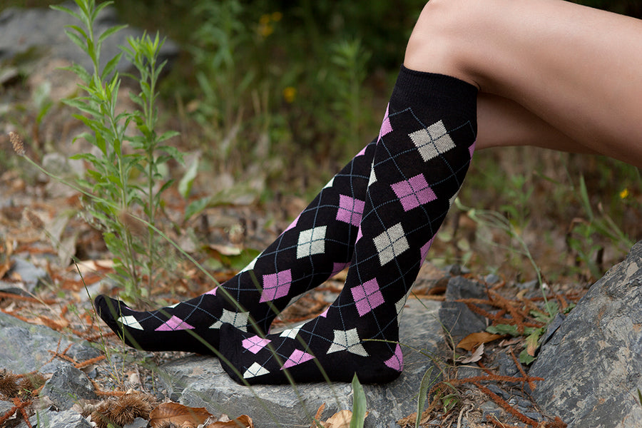 Women's Natural Black Argyle Knee High Socks