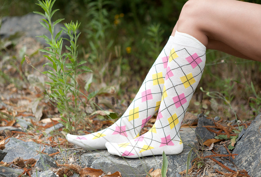 Women's White Argyle Knee High Socks