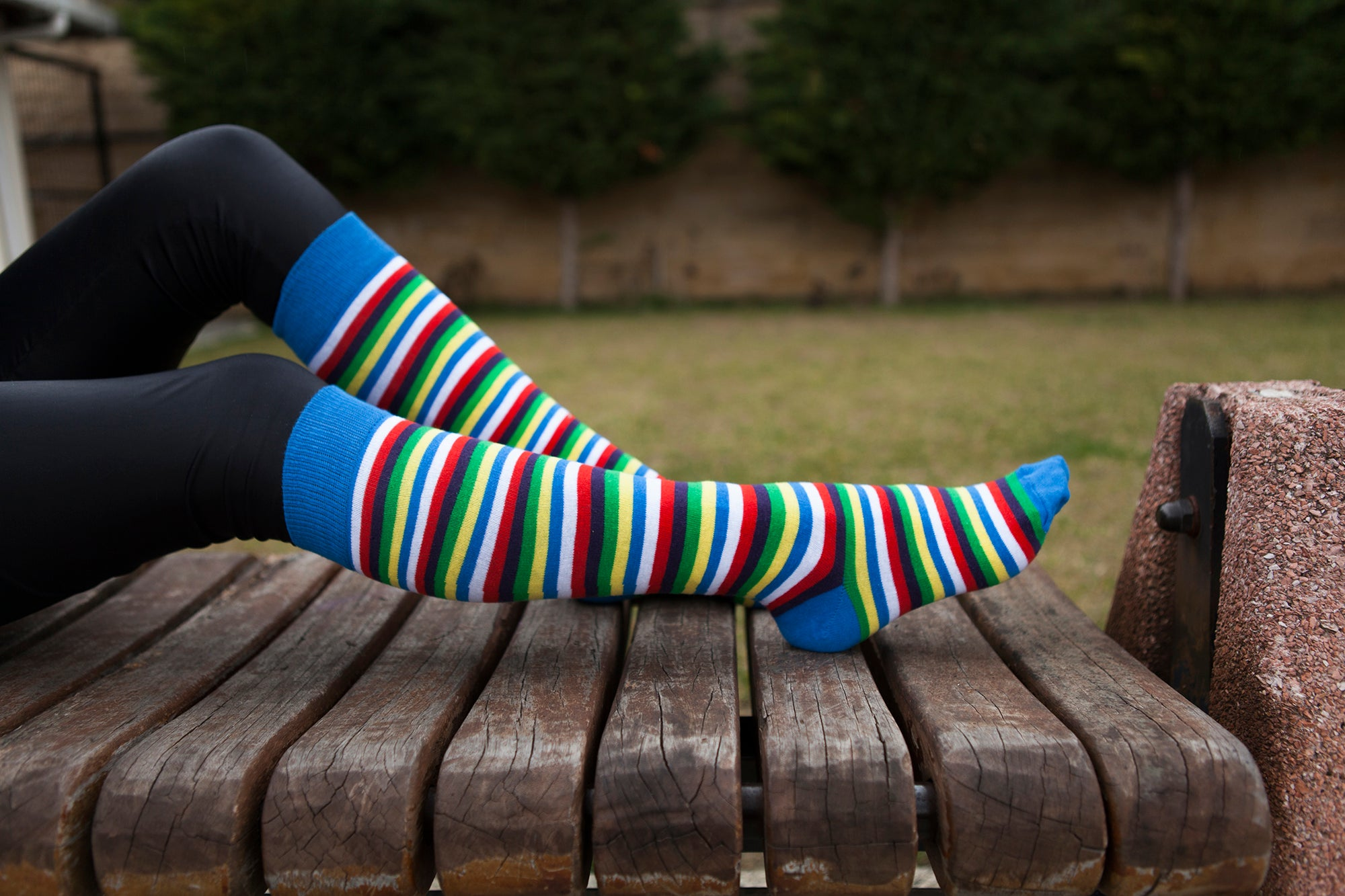 Women's Cobalt Stripe Knee High Socks