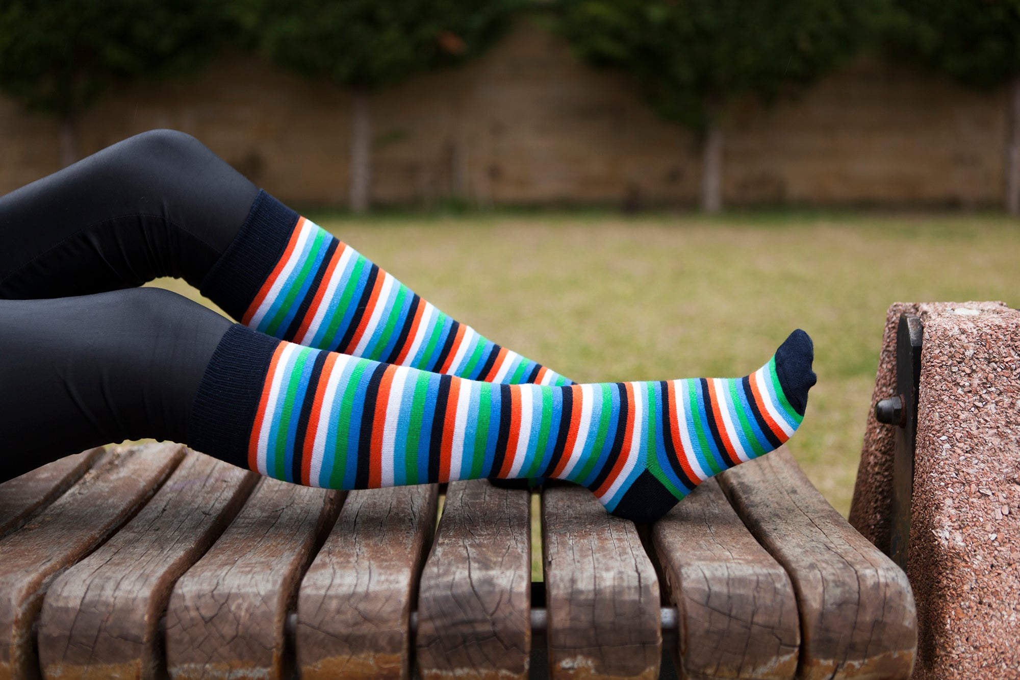 Women's Teal Sky Stripe Knee High Socks