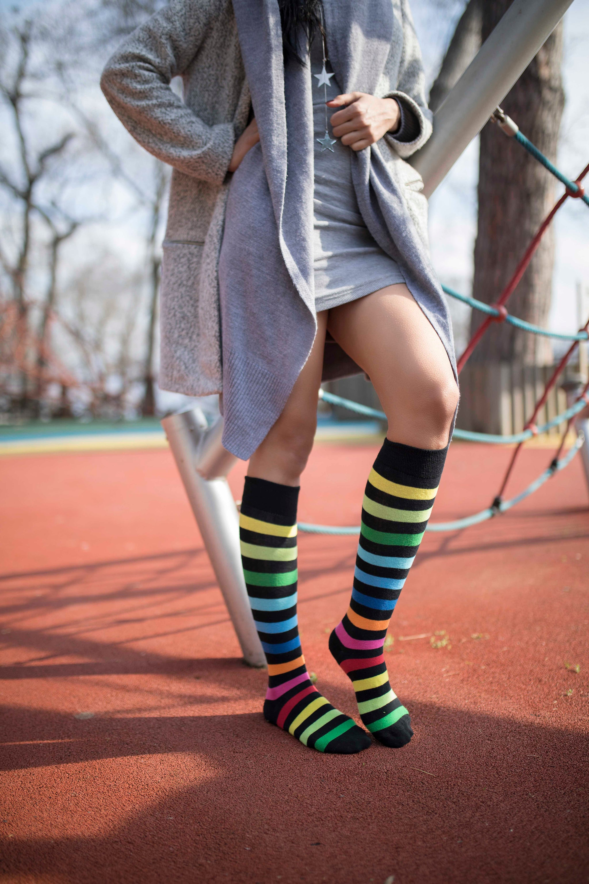Women's Rainbow Multistripe Knee High Socks