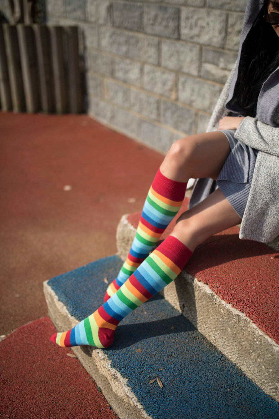 Women's Red Rainbow Stripe Knee High Socks