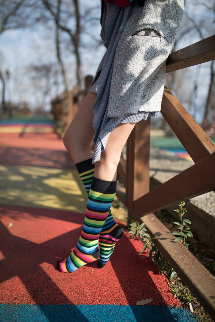 Women's Multicolor Stripe Knee High Socks