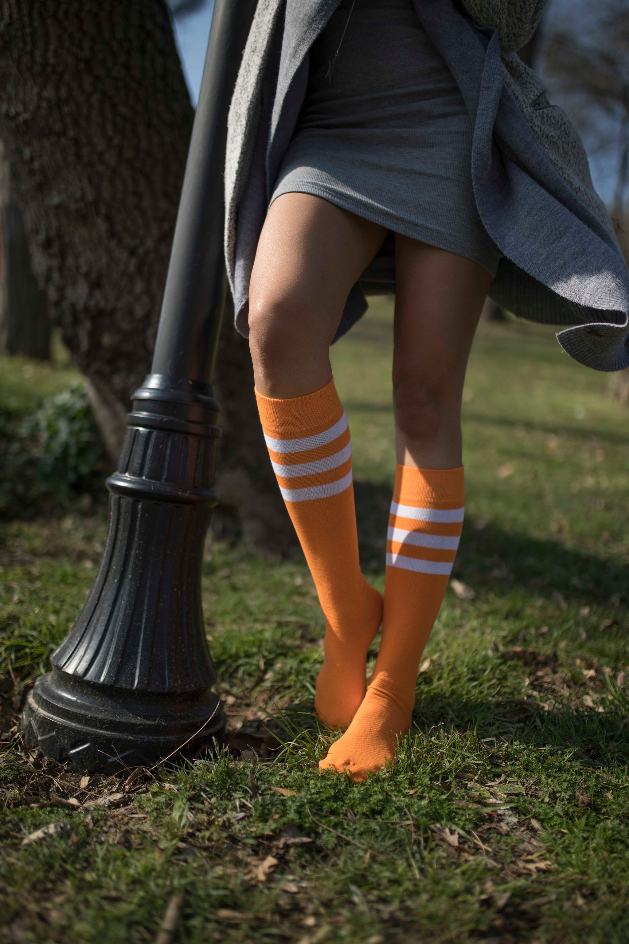 Women's Tangerine Stripe Knee High Socks