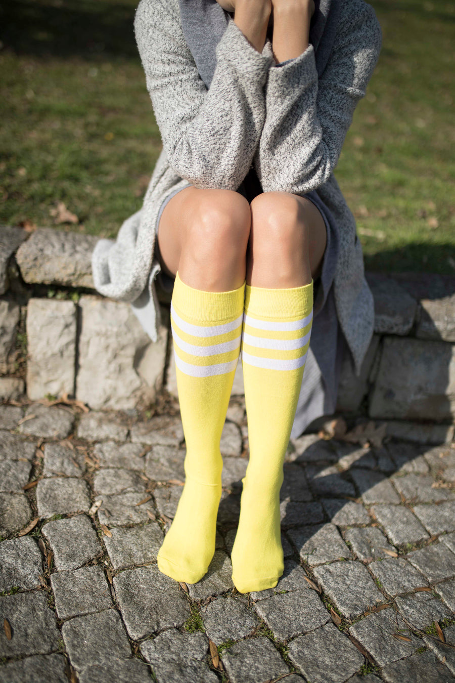 Women's Lemon Stripe Knee High Socks