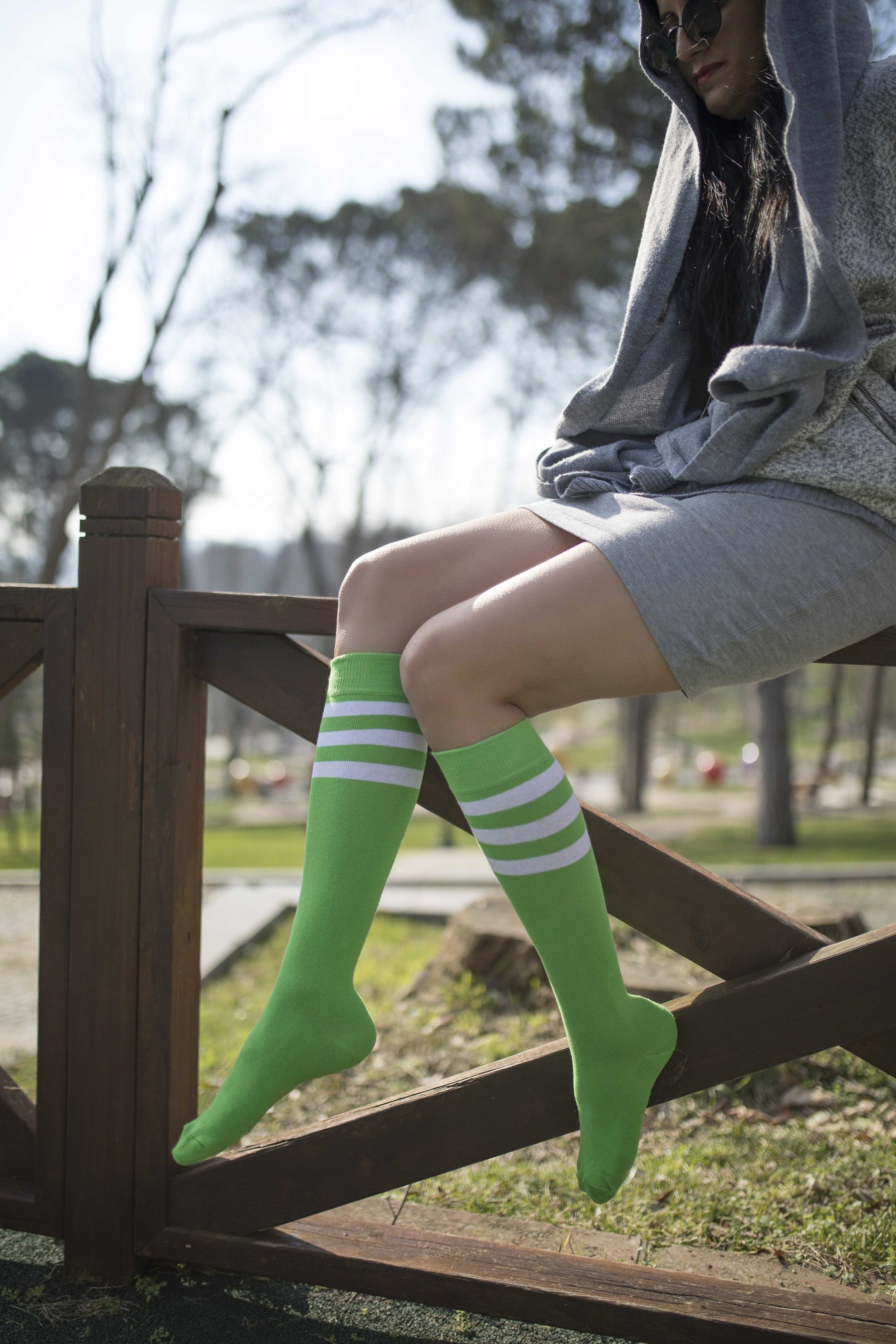 Women's Lime Stripe Knee High Socks