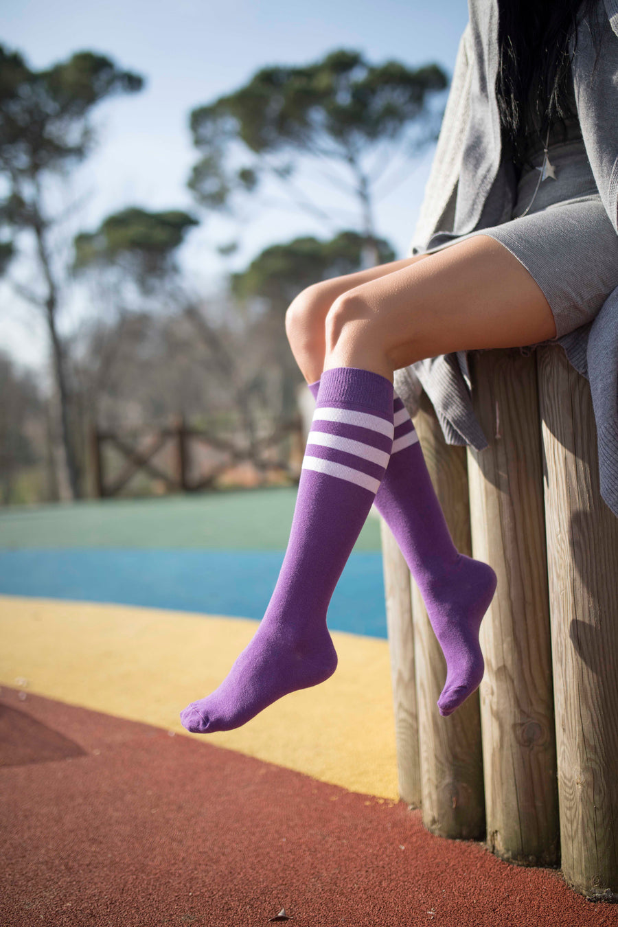 Women's Lavender Stripe Knee High Socks