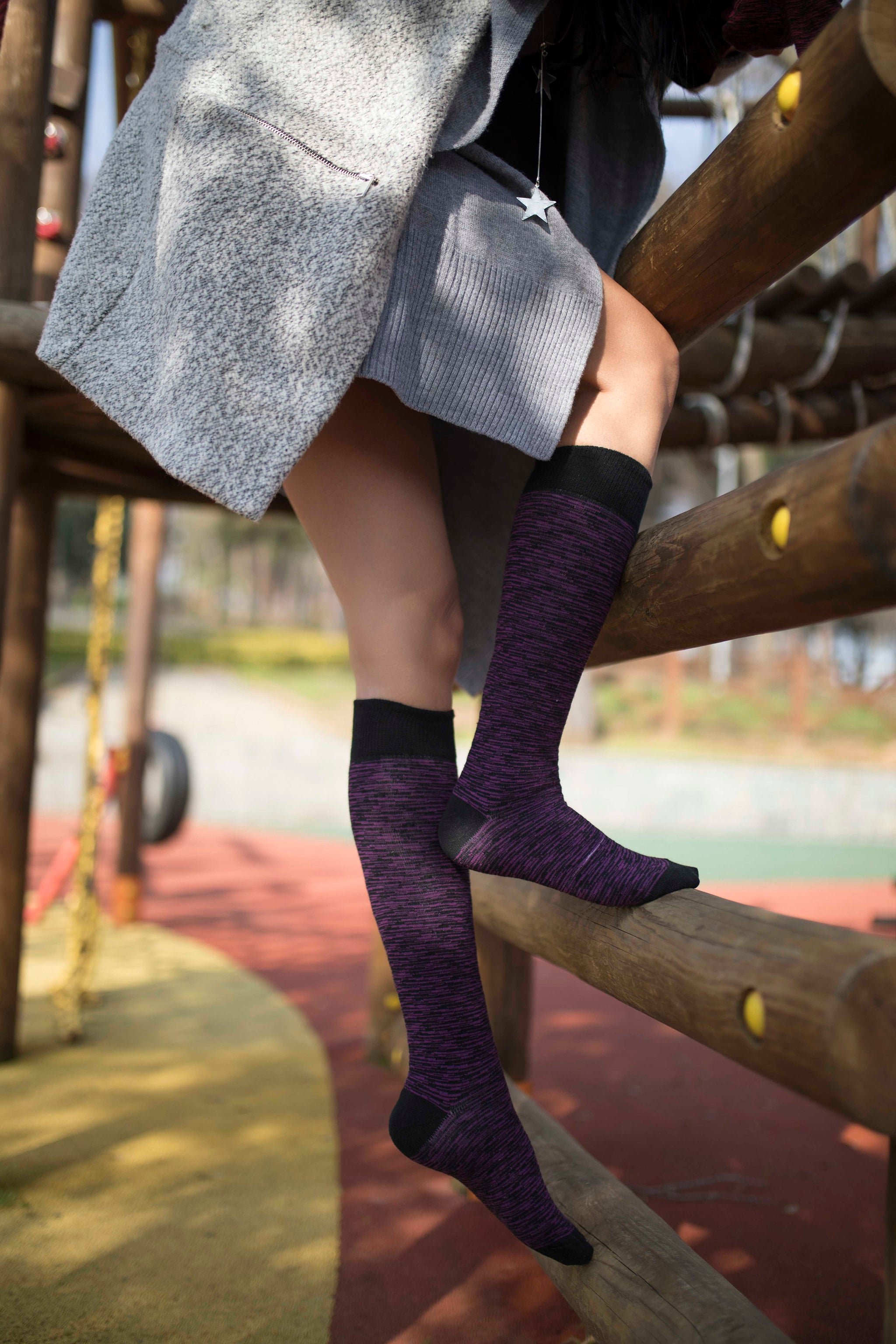 Women's Grizzled Knee High Socks Set