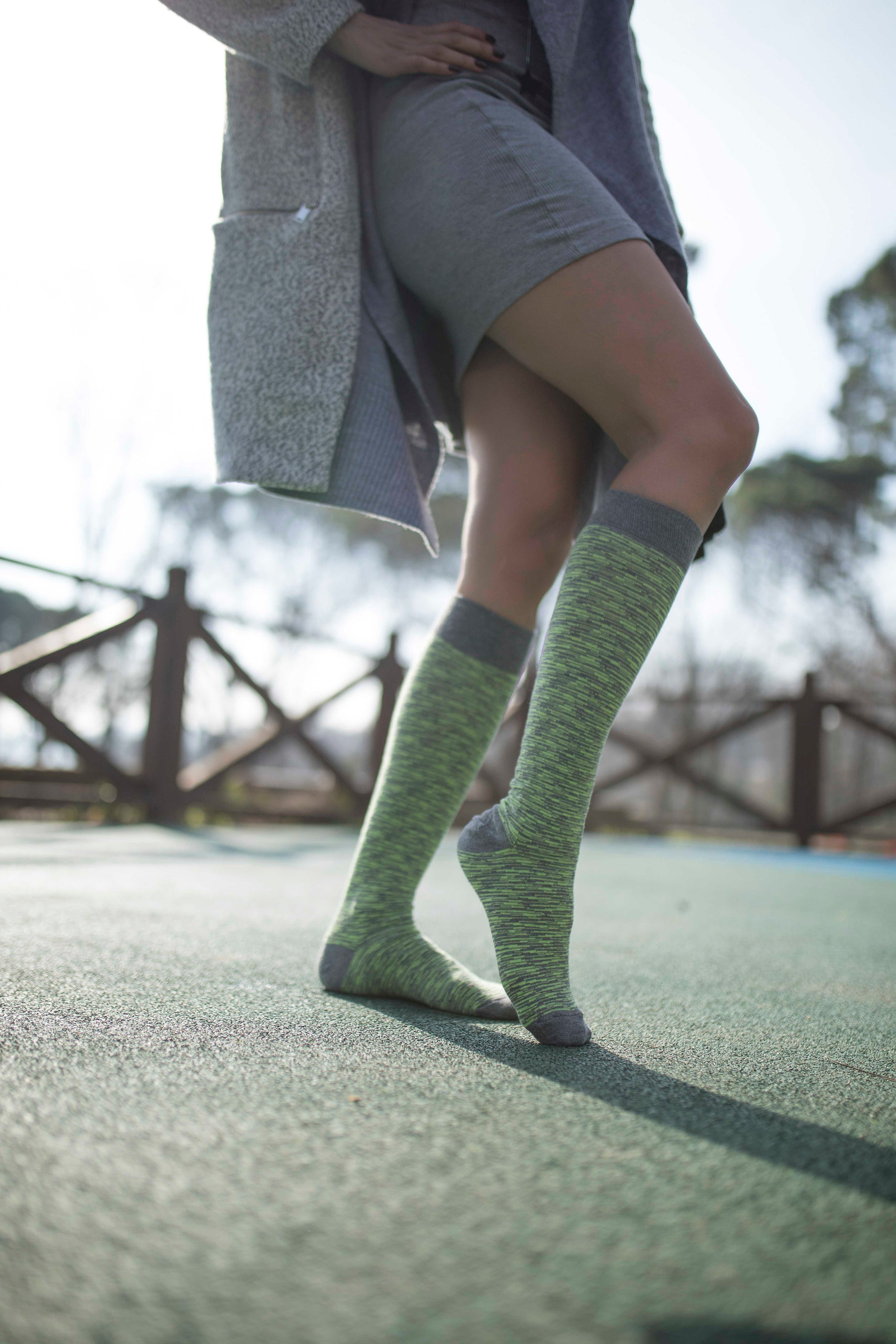 Women's Lime Grizzled Stripe Knee High Socks