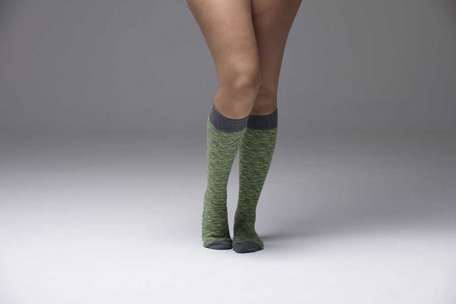 Lime Grizzled Stripe Socks